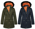 WOMENS LADIES HOODED BELTED FAUX FUR PADDED PUFFER QUILTED JACKET PARKA COAT