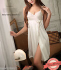 Lingerie Nightwear Lacy Chemise Super Soft Silky Nightdress White M 12/14 40/42