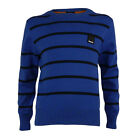 Childens Bench Adjust Blue Crew Neck Striped Jumper
