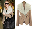 Woman Fur Collar Large Lapel Woolen Biker Motorcycle Coat Slim Jacket Outwear