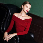 Runway Vintage Off-Shoulder Cross Basic Classic T-Shirt Blouse 9480