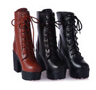 New Womens Chunky Punk platform High Heel Lace Up Buckle Ankle Boots Goth Shoes