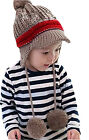 Kids Winter Hard Hat Brim Double Ball Earflap Earmuffs Knitted Snow Hats Caps