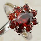 Size 6 7 8 9 Great Nice Garnet Red Flower Jewelry Gold Filled Woman Ring K1968