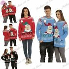 Mens Womens Unisex HO HO HO Santa Novelty Hat Pom Pom Christmas Sweater Jumper