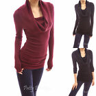 Cowl Neck Long Sleeve Ruched Sides Stretch Pullover Blouse Jumper