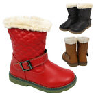 Girls Snow Winter Western Fur Kids Infants Mid Calf Quilted Buckle Boots Shoes