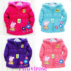 New Xmas Cartoon Peppa Pig Flower Baby Girls Winter Coat Jacket Outwear Snowsuit