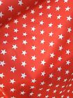 LARGE STARS RED POLYCOTTON FABRIC - POUND COIN SIZE STARS - CUT OF THE ROLL