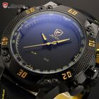 SHARK Army Fashion Date LED Digital Dual Leather Quartz Mens Sport Wrist Watch