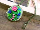 Gothic Goth Steampunk Vintage Locket Necklace Flower Cameo crystal colorful 019