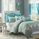 BEAUTIFUL COTTON TROPICAL BEACH OCEAN TEAL AQUA BLUE GREY...