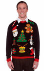 UGLY Christmas Holiday Sweater Funny Santa Tree Snowman Adult Costume M L XL