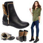 Womens Low Heel Biker Ankle Boots Faux Leopard Fur Print Winter Ladies Shoes