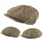 Classic English Country Tweed 8 Panel Gatsby Cap Wool Newsboy Baker Boy Hat