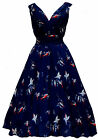 Ladies 1940's 1950's Vintage Style Blue Bird Print Full Circle Swing Tea Dress
