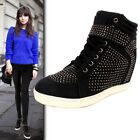LADIES WOMEN ANKLE LACE UP DIAMANTE FLAT HI TOP WEDGE SHOES BOOTS TRAINERS SIZE