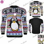 CLEARANCE SALE Mens Womens 3D Xmas Aztec Penguin Pom Pom Knit Sweater Jumper