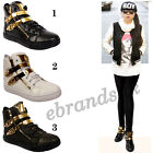 LADIES HI TOP TRAINERS CASUAL GOLD ZIP BUCKLE TRAINER WOMENS GIRLS FASHION SHOES