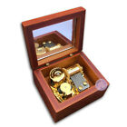 Brown Wooden Wind up Music Box With Sankyo Musical movement  48 Tunes Option