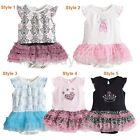 Baby Infant Toddler Girl Ruffles Tutu Dress One-pieces Pink Black  3-15 months