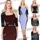 Womens Colorblock Tartan Optical Illusion Work Party Bodycon Sheath Dress 196