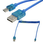 3Ft USB 2.0 A Type to Micro USB M/M LED Light Data Power Charger Coiled Cable