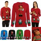 CLEARANCE SALE Mens Womens Xmas Novelty 3D Reindeer Santa Rudolf Sweater Jumper