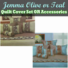 Jemma Olive or Teal Quilt Cover Set or Accessories by Phase 2