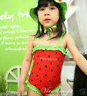 NWT Girls/Toddler/Childs Fruit Watermelon One Piece Swimsuits Cap Hat 2Y-5Y #GK