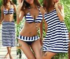AU STOCK WOMENS SWIMWEAR SKIRT DRESS BIKINI+COVER UP 3 PIECE SWIMSUIT SW033