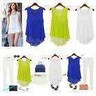 Womens Chiffon Peplum Frill Bodycon Casual Party Tank Shirt Tops Blouse Fashion