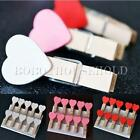 10/50/100Pcs Mini Heart Wooden Pegs Photo Clips Wedding Room Decor Craft 35mm