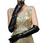 Women's Genuine Soft Leather long Gloves Black Gloves For Women Evening Gloves