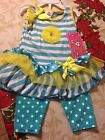 Real Love Outfit, Girls, Tank Top, Yellow, Blue Sleeveless, Pant NWT