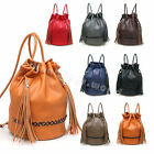 Ladies Fashion Large Leather Tassel Style Travel Drawstring Backpack Rucksack