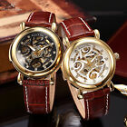 2 Color KS Royal Carving Steampunk Skeleton Men's Leather Band Mechanical Watch