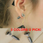 2pcs Unisex Womens Mens Punk Stainless Steel Whole Screw Nail Ear Studs Earrings