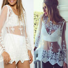 Vintage Hippie Boho Embroidery Floral Lace Crochet Shirt Tops Mini Party Dress