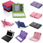 Leather Folio Case Cover for iPad Mini & 10 8 7 inch Tablet w / Keyboard + Pen