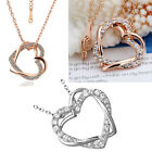 New 18K Rose Gold Filled Double Heart Pendant Necklace With Shining Crystal