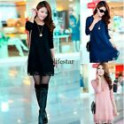 Women Lace Casual Loose Knit sweater Dress Crewneck Long Cardigan Pullover LM