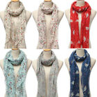 Bird Scarf Ladies Winter Warm Long Robin Print Neck  Shawl Pashmina Stole Wrap