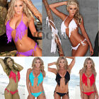 New Womens Sexy Bandeau Tassel Bikini Set Padded Push Up Bra Swimwear Swimsuit B