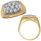 0.5 Carat White Diamond Fancy Cluster Mens Man Engagement Ring 14K Yellow Gold