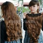 45cm Clip in Synthetic Human Hair Extensions Long Wavy Curly Hair 5 Clip QQU
