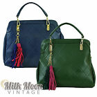 Ladies Large Handbag Shoulder Bag Quilted Navy Green Tote New