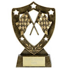 Motorsport Trophies Resin Chequered Flags Shield Award 3 sizes FREE Engraving