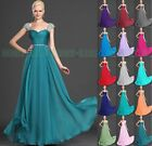 2015 Cap Sleeve Evening Formal Party Ball Gown Prom Bridesmaid Dresses Size 6+18