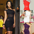 Women Sexy One Shoulder Cut Out Backless Mesh Mini Cocktail Evening Wrap Dress